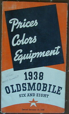 Old Original Sales Brochure 1938 Oldsmobile Prices Colors Equipment Very Rare