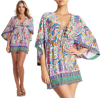 1c688f577add1 $148 Trina Turk Jungle Beach Floral Stretch Jersey Swim Cover Up Tunic Dress  S
