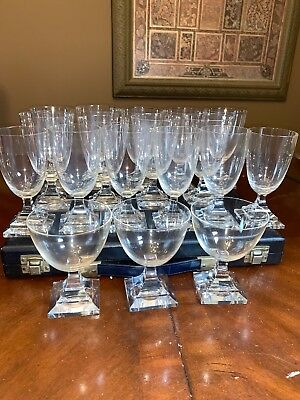 FRENCH ART DECO true Vintage Set 18 Wine Juice Glass Clear Glasses GORGEOUS