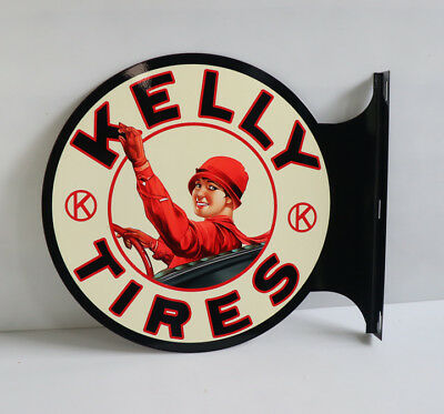 KELLY TIRES with GIRL IN CAR   Flange Sign  gas oil Modern Retro