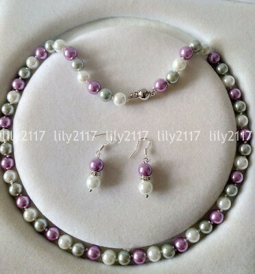 Natural 8mm Purple White Gray South Sea Shell Pearl Round beads Necklace Earring