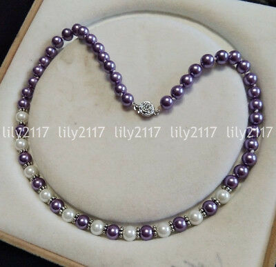 Natural 8mm Purple White South Sea Shell Pearl Round beads Necklace 18-50'' AAA
