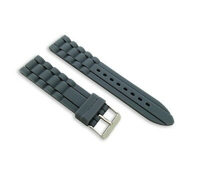 Grey Silicone Rubber Watch Strap/Band for FOSSIL/ICE With Buckle 18-24mm + Pins