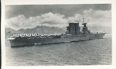 WWII 1940s US Navy aircraft carrier heading into Pearl Harbor Hawaii Photo 5