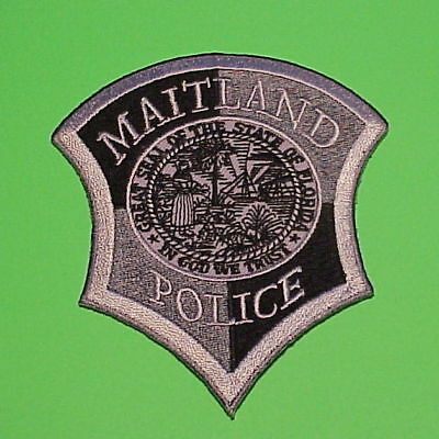 Maitland  Florida  Fl  ( Silver / Black )  Police Patch   Free Shipping!!!