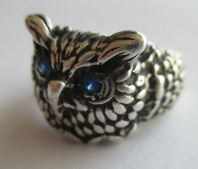VTG ANTIQUE ART NOUVEAU DECO STERLING PASTE RHINESTONE EYE OWL BIRD RING Size 6.