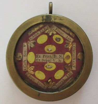 Large Antique Victorian Reliquary Relic Locket Pendant Glass Brass