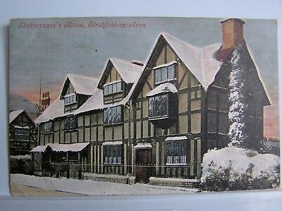 Postcard - Stratford On Avon - Shakespeare's House & Snow - Warwickshire - 1904