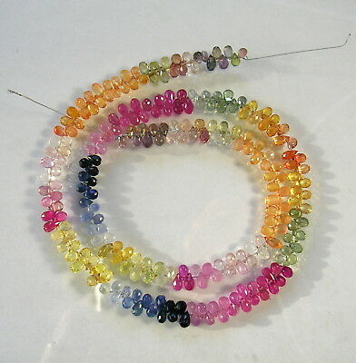 """MULTI SAPPHIRE faceted drop briolette beads AAA 4-5mm 16"""" strand"""
