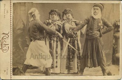 Theater play actors Turkish costumes sword fight antique cabinet photo Chicago