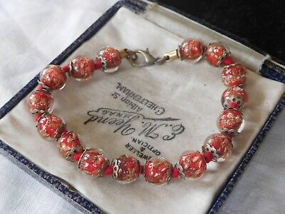 Lovely Vintage 1970s Red Venetian Glass Bracelet