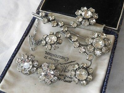 Dazzling Vintage 1950s Crystal Paste Brooch & Clip On Earrings