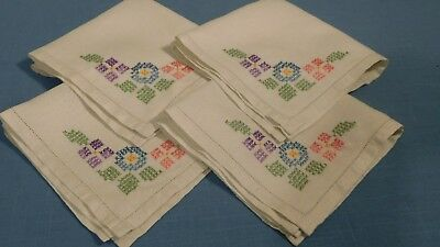 Set Four Vintage Hnd Embroidered Linen Luncheon Napkins Hemstitched Hems A+