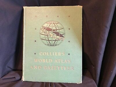 Large Vintage Atlas World War II 1942 Collier's World Atlas and Gazetteer