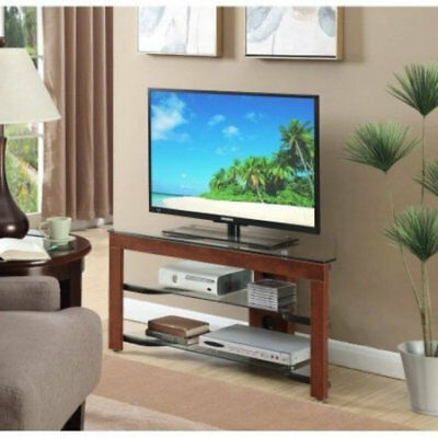 Corner Tv Stand Entertainment Center 49 Inch Table Top Gl Cherry Wood 3 Tier