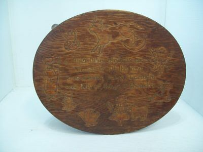 Vintage Nursery Rhyme Wooden Foot Stool, Time Out Bench, Carved Wood Stool