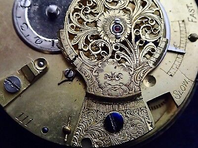 LEE 18th Century Verge Fusee Pocket Watch Movement converted to lever circa 1790