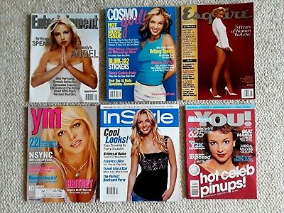 Lot of 6, Britney Spears Magazines, You, Cosmo, YM, Esquire, In Style, Entertain