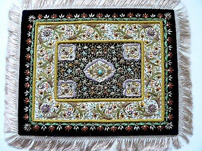 Elaborate Ottoman Turkey Velvet Gold Silver Hand Embroidery Semiprecious Stones