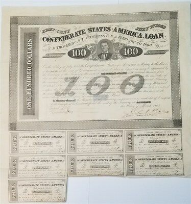 1863 Confederate States Of America $100 Bond Cr#123A 7 Coupons Attached  Rare!