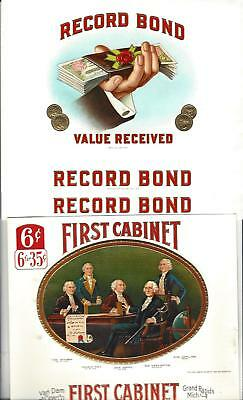 Lot Of 3 Vintage Cigar Box Labels (2) Record Bond, (1) First Cabinet