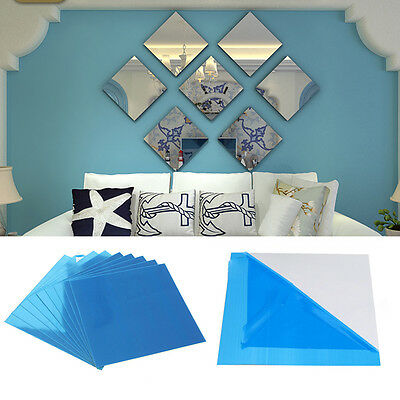 3pcs Square Mirror Tile Wall Stickers 3D Decal Mosaic DIY Room Decor