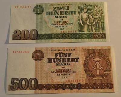 200 and 500 Mark DDR Banknotes 1985 Germany Crisp Unc Two Banknote Lot