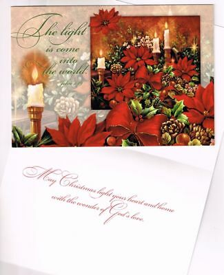 Leanin Tree Box of 10 Christmas Cards The Light is come into the World-John 3:19
