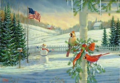 Leanin' Tree Box of 10 Christmas Cards: Cardinals Country American Flag Farm