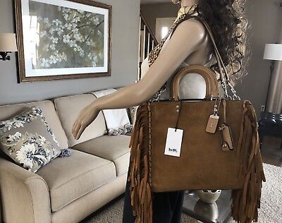 New Coach Rogue 1941 Cervo Suede Leather Fringe Bag Satchel Tote Rare 86824 $995