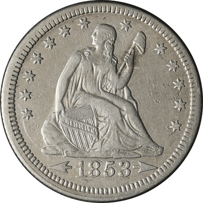 1853-P Seated Liberty Quarter - Arrows + Rays Great Deals From The Executive Coi