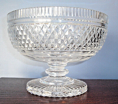 "VINTAGE Waterford Crystal MASTER CUTTER Footed 7 1/4"" Pedestal BOWL, Ireland"
