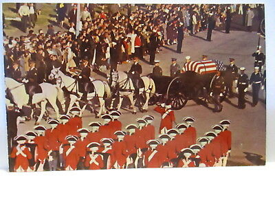1960S Patriotic Postcard Horse Drawn Caisson,with Remains Of President Kennedy