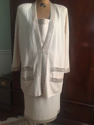 St John Evening Santana Knit Winter White Jacket Skirt Suit Marie Gray Large 16