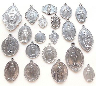 Fantastic Lot Of 20 Antique Miraculous Medal Pendants - All Different & Some Big