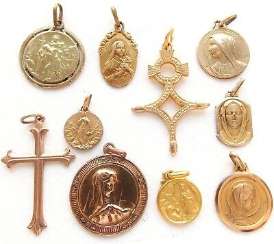 Beautiful Lot Of 10 Antique Gold Plated Religious Medal Pendants