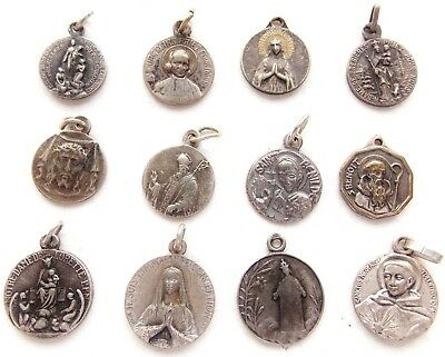 Great Lot Of 12 Vintage & Antique Religious Medal Pendants