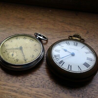 2 Vintage Open Face Pocket Watches Ingersoll & Deco Examples - SPARES/REPAIRS