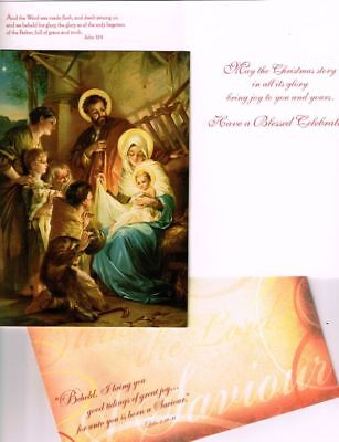 Leanin' Tree Box of 10 Christmas Cards: Religious Nativity Scene. And the Word w