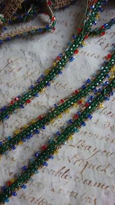 DELICIEUX BATCH ANTIQUE FRENCH GLASS BEADED PASSEMENTERIE TRIM BRAID c1910