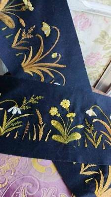 2 ANTIQUE FRENCH BLACK FELT PANELS EMBROIDERED SPRING FLOWERS c1910