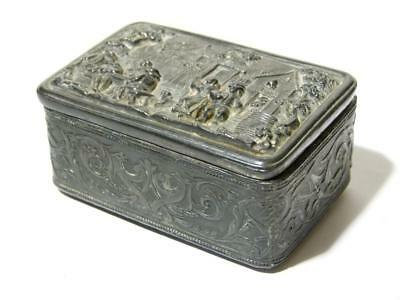 Antique 19thC Pewter Trinket Box Village Pub Tavern Classic Relief Scene