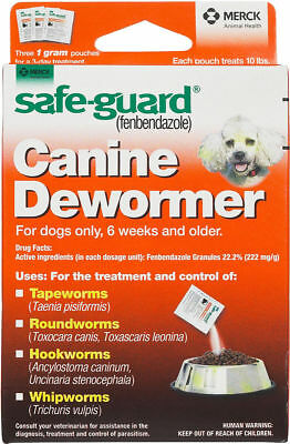 NEW! MERCK SAFE-GUARD CANINE DEWORMER, TREATS 10lb DOGS