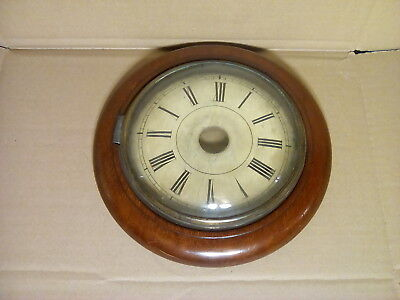 "Antique Mahogany & Painted Wall Clock Face, Spares/Repair 8.5"" diameter."
