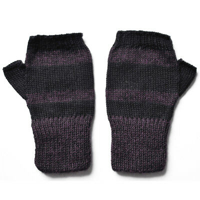 100% Alpaca Wool Fingerless Mittens Purple Black Medium ~ Women Men Accessory
