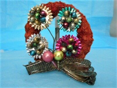 """Vintage 5"""" Decorated Red Visca Christmas Wreath ~ Foil & Bead Flowers & Ribbon"""