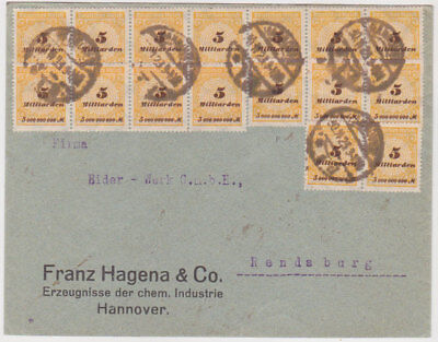 GERM.1923(30.11)COMM.INFLAT.COV.HANNOVER 16xMi 327 AP(corr.last day rate)EXPERT.