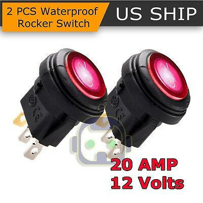 2X Waterproof ROCKER SWITCHES 12V 20A ROUND TOGGLE ON OFF 12 VOLT CAR SNAP