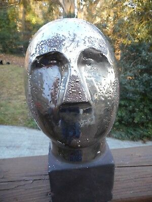 Mid-Century Modern Bust Of Man's Head In Semi-Abstract Style