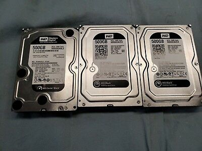 Lot of (3) 500 GB Western Digital SATA Hard Drives WD5003AZEX / WD5002AALX #1365